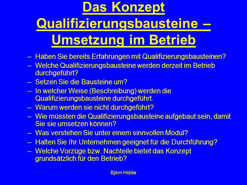 Björn Hidde Das Konzept Qualifizierungsbausteine – Umsetzung im Betrieb –Haben Sie bereits Erfahrungen mit Qualifizierungsbausteinen.