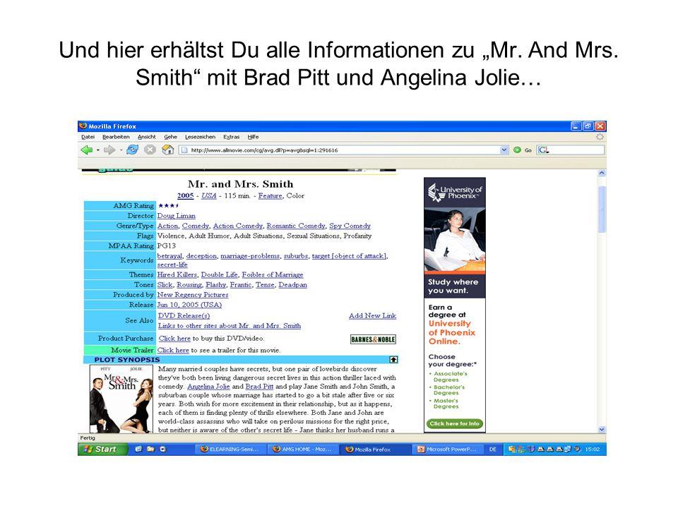 """Und hier erhältst Du alle Informationen zu """"Mr. And Mrs. Smith"""" mit Brad Pitt und Angelina Jolie…"""