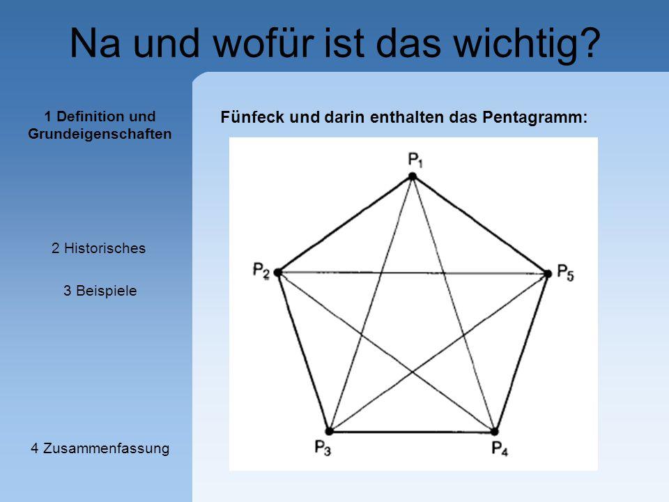 Na und wofür ist das wichtig? Fünfeck und darin enthalten das Pentagramm: 1 Definition und Grundeigenschaften 2 Historisches 3 Beispiele 4 Zusammenfas