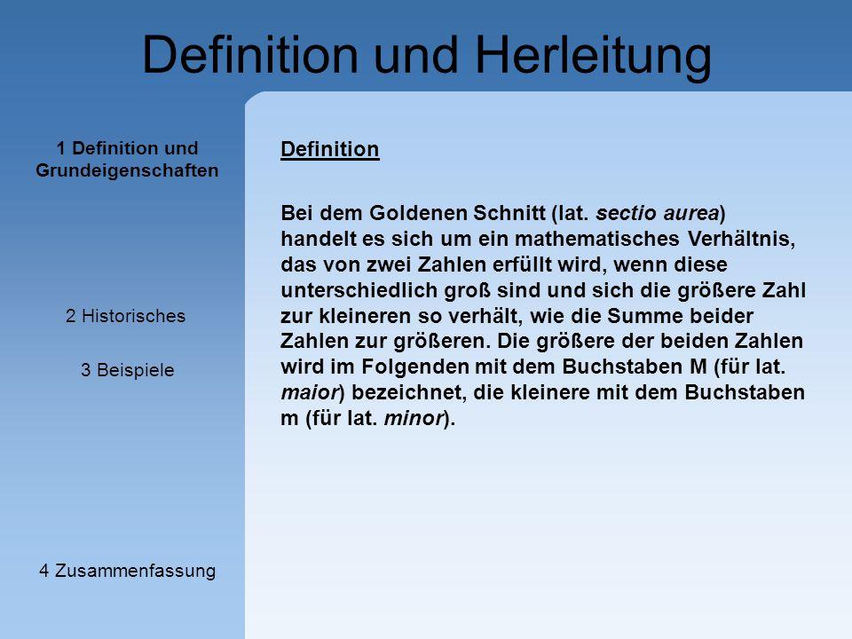"""Definition und Herleitung - - Φ ist eine irrationale Zahl Wir wollen den """"genauen Zahlenwert ermitteln: - Zahlenwert oft als Konstante Φ (Phi) bezeichnet Goldener Schnitt wird auch als stetige Teilung bezeichnet, denn: - subtrahiert man die kürzere der beiden Strecken von der längeren, so erhält man eine Strecke, zu der die kürzere wiederum im Verhältnis des Goldenen Schnitts steht 1 Definition und Grundeigenschaften 2 Historisches 3 Beispiele 4 Zusammenfassung"""