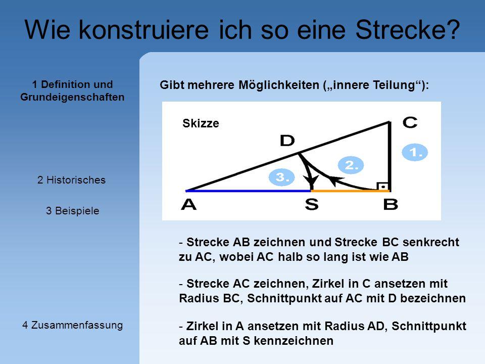 Wie konstruiere ich so eine Strecke? - Strecke AC zeichnen, Zirkel in C ansetzen mit Radius BC, Schnittpunkt auf AC mit D bezeichnen Gibt mehrere Mögl