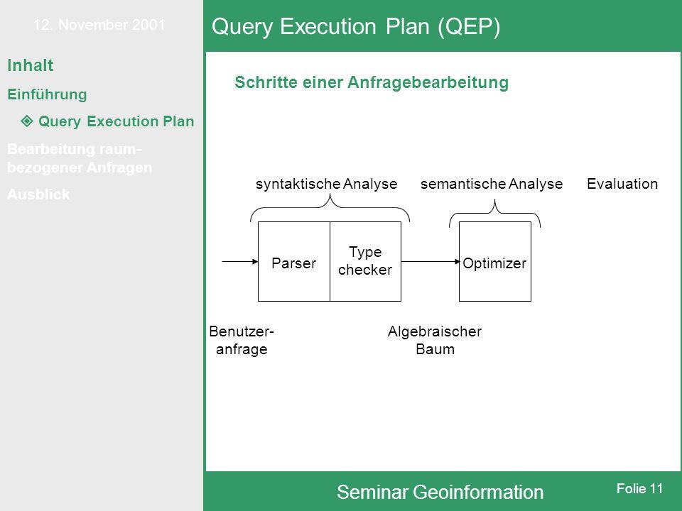 12. November 2001 Seminar Geoinformation Folie 11 Schritte einer Anfragebearbeitung Query Execution Plan (QEP) syntaktische Analysesemantische Analyse