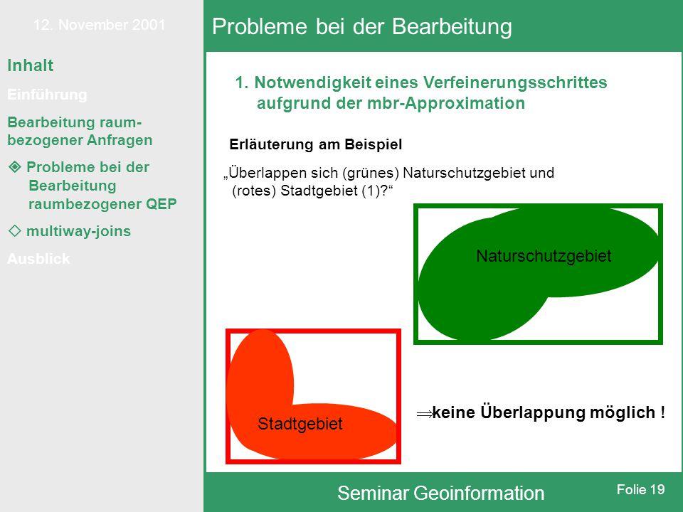 12. November 2001 Seminar Geoinformation Folie 19 Inhalt Einführung Bearbeitung raum- bezogener Anfragen  Probleme bei der Bearbeitung raumbezogener