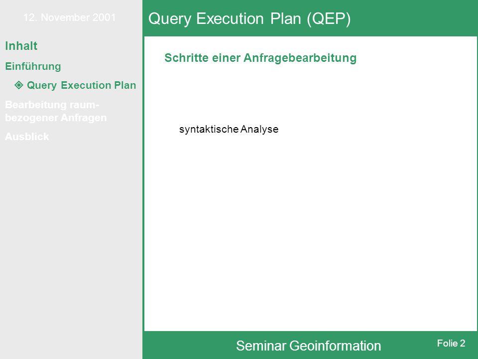 12. November 2001 Seminar Geoinformation Folie 2 Inhalt Einführung  Query Execution Plan Bearbeitung raum- bezogener Anfragen Ausblick Schritte einer