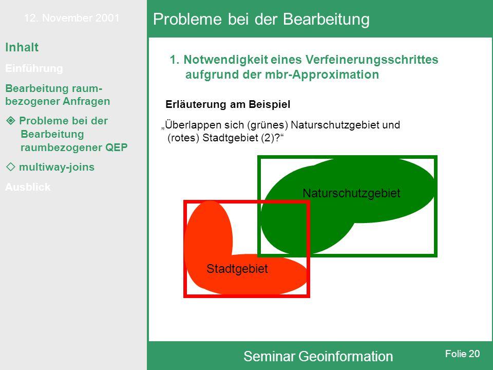 12. November 2001 Seminar Geoinformation Folie 20 Inhalt Einführung Bearbeitung raum- bezogener Anfragen  Probleme bei der Bearbeitung raumbezogener