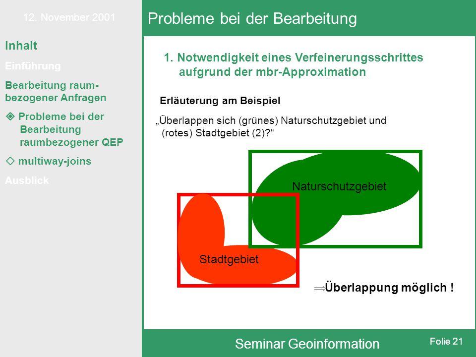 12. November 2001 Seminar Geoinformation Folie 21 Inhalt Einführung Bearbeitung raum- bezogener Anfragen  Probleme bei der Bearbeitung raumbezogener