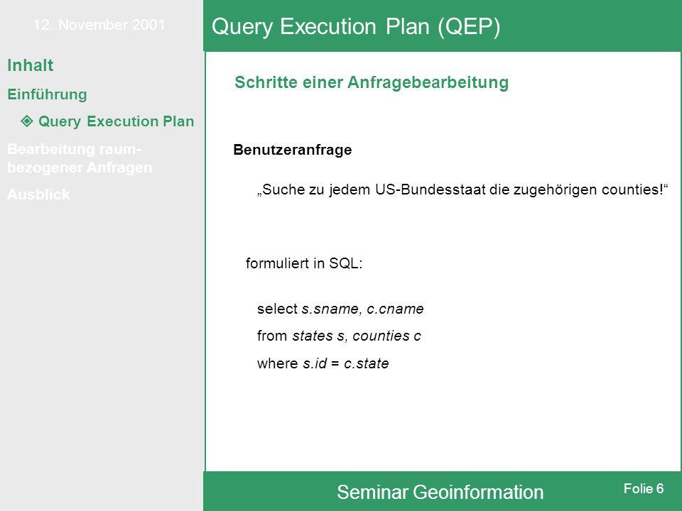 """12. November 2001 Seminar Geoinformation Folie 6 Schritte einer Anfragebearbeitung Query Execution Plan (QEP) Benutzeranfrage """"Suche zu jedem US-Bunde"""