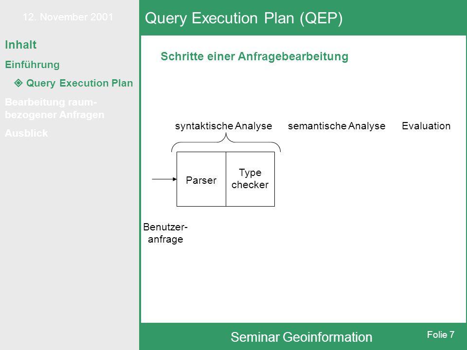 12. November 2001 Seminar Geoinformation Folie 7 Schritte einer Anfragebearbeitung Query Execution Plan (QEP) syntaktische Analysesemantische AnalyseE