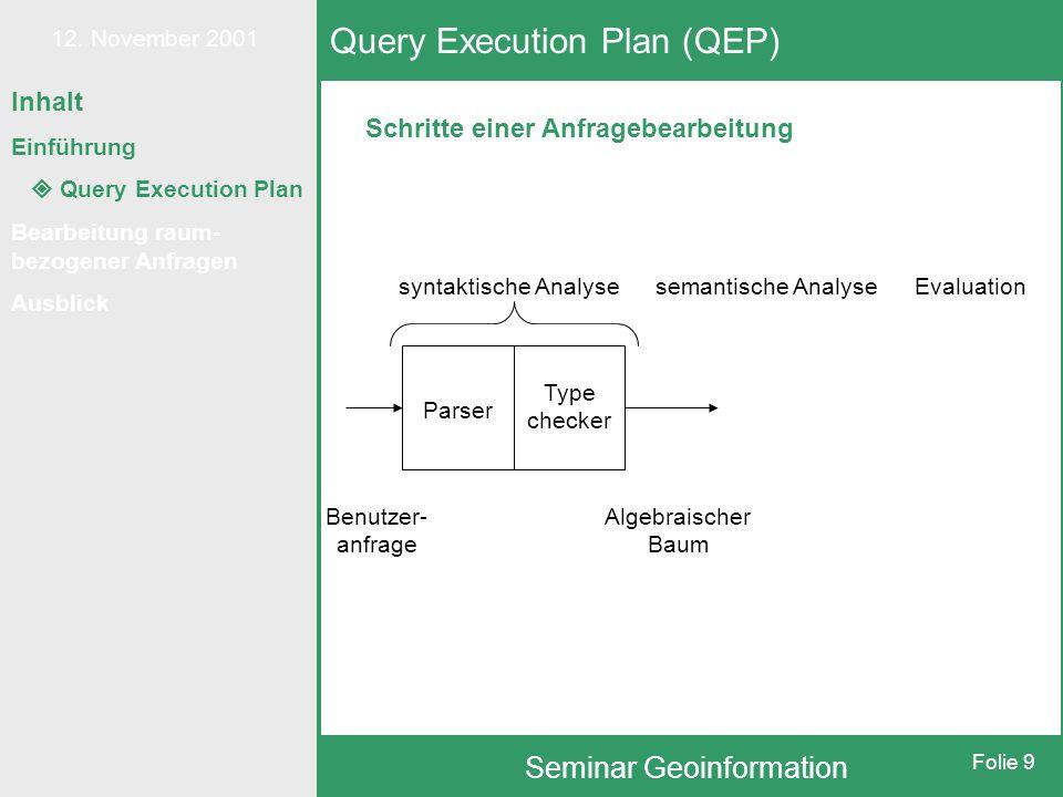 12. November 2001 Seminar Geoinformation Folie 9 Schritte einer Anfragebearbeitung Query Execution Plan (QEP) syntaktische Analysesemantische AnalyseE