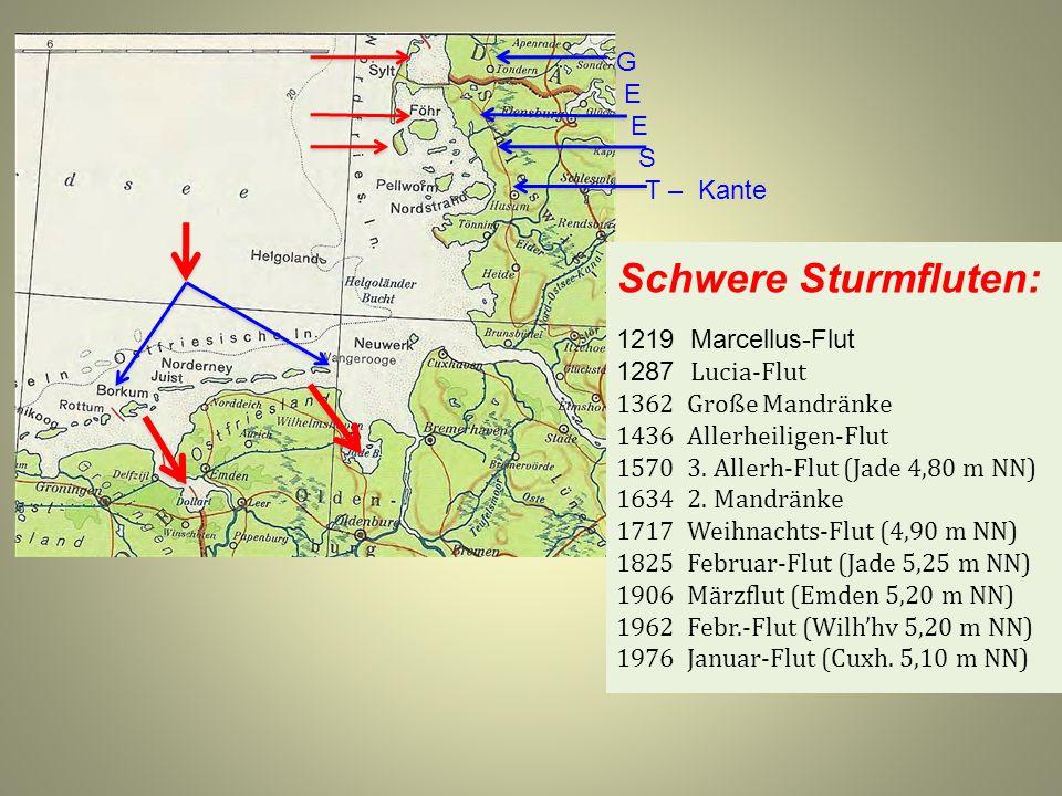 Schwere Sturmfluten: 1219 Marcellus-Flut 1287 Lucia-Flut 1362 Große Mandränke 1436 Allerheiligen-Flut 1570 3. Allerh-Flut (Jade 4,80 m NN) 1634 2. Man