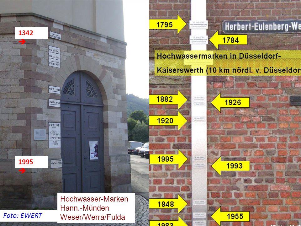 Foto: EWERT 1995  1342  Hochwasser-Marken Hann.-Münden Weser/Werra/Fulda