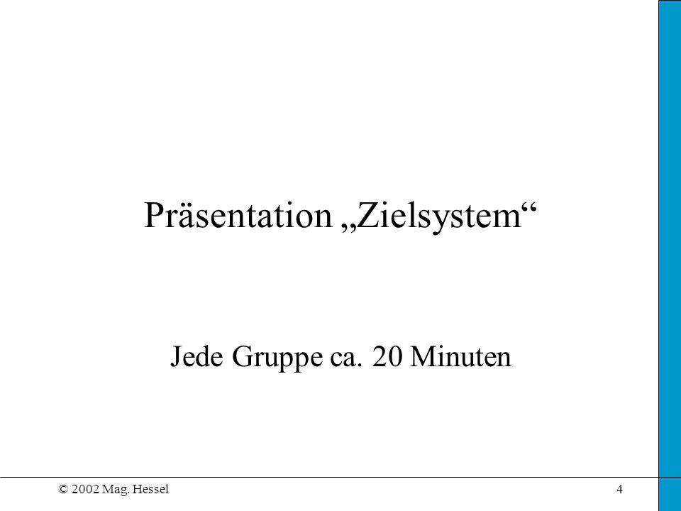 "© 2002 Mag. Hessel4 Präsentation ""Zielsystem Jede Gruppe ca. 20 Minuten"