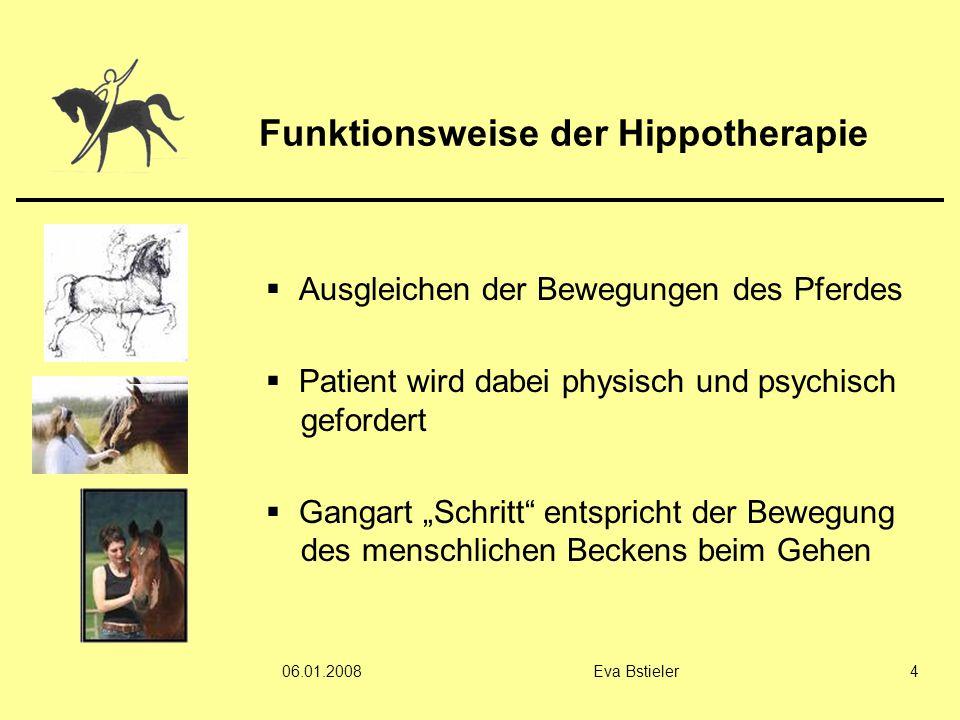 06.01.2008Eva Bstieler4 Funktionsweise der Hippotherapie  Ausgleichen der Bewegungen des Pferdes  Patient wird dabei physisch und psychisch geforder