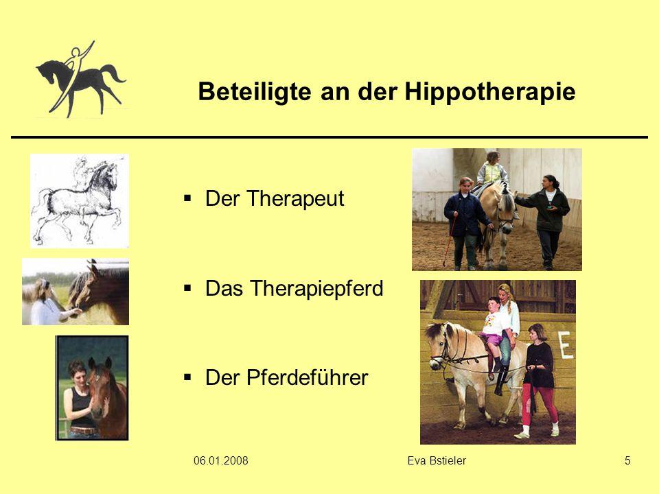 06.01.2008Eva Bstieler5 Beteiligte an der Hippotherapie  Der Therapeut  Das Therapiepferd  Der Pferdeführer
