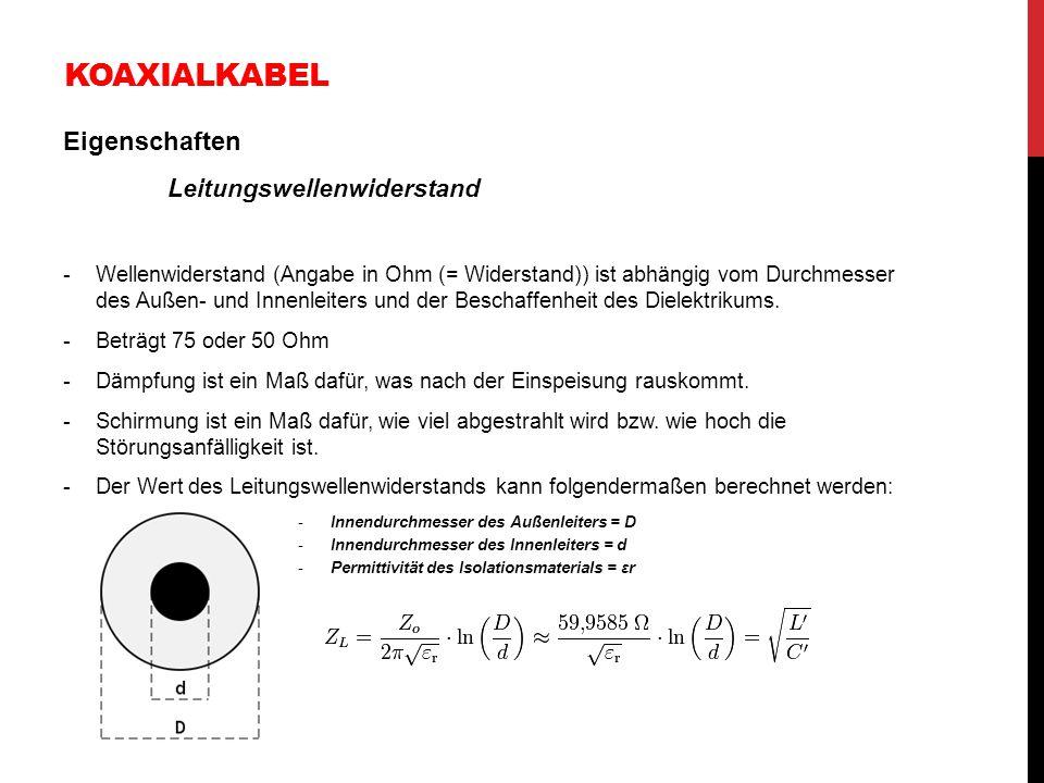 KOAXIALKABEL Eigenschaften Leitungswellenwiderstand -Wellenwiderstand (Angabe in Ohm (= Widerstand)) ist abhängig vom Durchmesser des Außen- und Innen