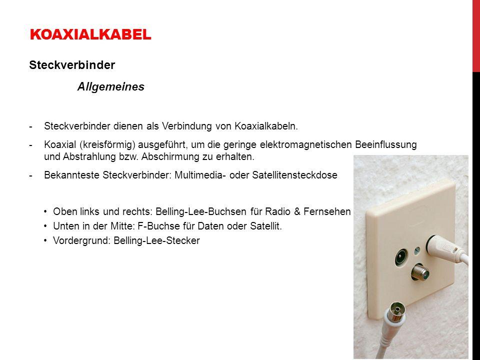 KOAXIALKABEL Steckverbinder Allgemeines -Steckverbinder dienen als Verbindung von Koaxialkabeln. -Koaxial (kreisförmig) ausgeführt, um die geringe ele