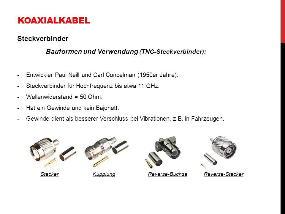 KOAXIALKABEL Steckverbinder Bauformen und Verwendung (TNC-Steckverbinder): -Entwickler Paul Neill und Carl Concelman (1950er Jahre). -Steckverbinder f