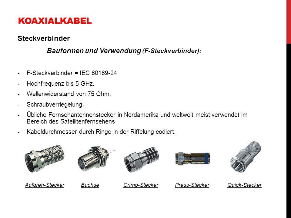 KOAXIALKABEL Steckverbinder Bauformen und Verwendung (F-Steckverbinder): -F-Steckverbinder = IEC 60169-24 -Hochfrequenz bis 5 GHz. -Wellenwiderstand v