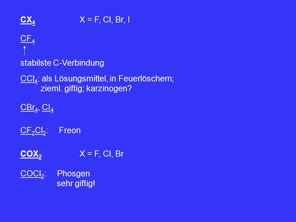 CX 4 X = F, Cl, Br, I CF 4 stabilste C-Verbindung CCl 4 : als Lösungsmittel, in Feuerlöschern; zieml. giftig; karzinogen? CBr 4, CI 4 CF 2 Cl 2 : Freo