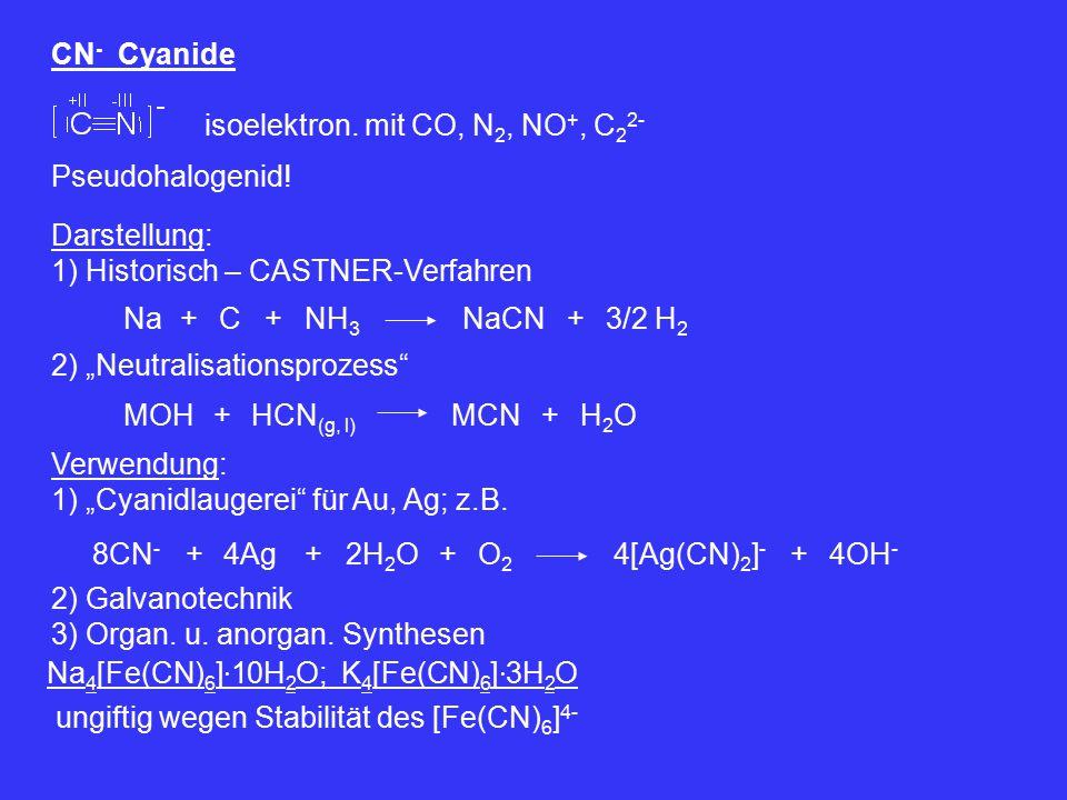 """CN - Cyanide isoelektron. mit CO, N 2, NO +, C 2 2- Pseudohalogenid! Darstellung: 1) Historisch – CASTNER-Verfahren Na+NH 3 NaCN+3/2 H 2 C+ 2) """"Neutra"""