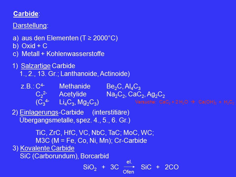 Carbide: Darstellung: a)aus den Elementen (T ≥ 2000°C) b)Oxid + C c)Metall + Kohlenwasserstoffe 1)Salzartige Carbide 1., 2., 13.