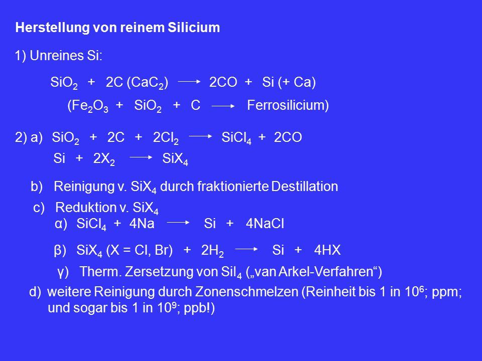 Herstellung von reinem Silicium 1) Unreines Si: SiO 2 +2C (CaC 2 )2CO+Si (+ Ca) (Fe 2 O 3 SiO 2 ++CFerrosilicium) 2) a)SiO 2 +2C+2Cl 2 SiCl 4 2CO+ Si+2X 2 SiX 4 b) Reinigung v.