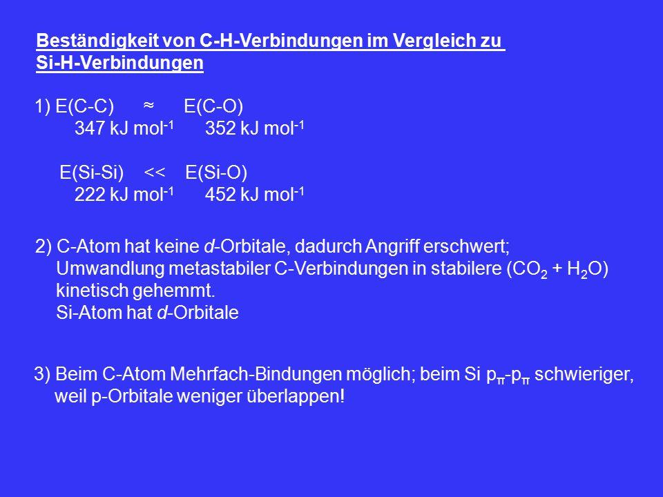 Beständigkeit von C-H-Verbindungen im Vergleich zu Si-H-Verbindungen 1) E(C-C) ≈ E(C-O) 347 kJ mol -1 352 kJ mol -1 E(Si-Si) << E(Si-O) 222 kJ mol -1 452 kJ mol -1 2) C-Atom hat keine d-Orbitale, dadurch Angriff erschwert; Umwandlung metastabiler C-Verbindungen in stabilere (CO 2 + H 2 O) kinetisch gehemmt.