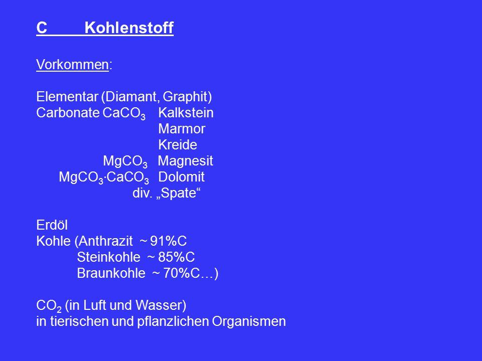 "CKohlenstoff Vorkommen: Elementar (Diamant, Graphit) Carbonate CaCO 3 Kalkstein Marmor Kreide MgCO 3 Magnesit MgCO 3 ∙ CaCO 3 Dolomit div. ""Spate"" Erd"