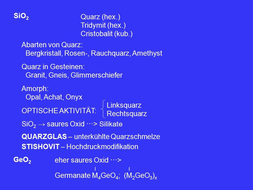 SiO 2 Quarz (hex.) Tridymit (hex.) Cristobalit (kub.) Abarten von Quarz: Bergkristall, Rosen-, Rauchquarz, Amethyst Quarz in Gesteinen: Granit, Gneis, Glimmerschiefer Amorph: Opal, Achat, Onyx OPTISCHE AKTIVITÄT: SiO 2 → saures Oxid ⋯> Silikate Linksquarz Rechtsquarz QUARZGLAS – unterkühlte Quarzschmelze STISHOVIT – Hochdruckmodifikation GeO 2 eher saures Oxid ⋯> Germanate M 4 GeO 4 ; (M 2 GeO 3 ) x II