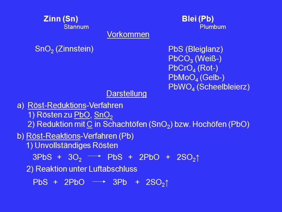 Zinn (Sn) Blei (Pb) Vorkommen SnO 2 (Zinnstein) PbS (Bleiglanz) PbCO 3 (Weiß-) PbCrO 4 (Rot-) PbMoO 4 (Gelb-) PbWO 4 (Scheelbleierz) StannumPlumbum Darstellung a)Röst-Reduktions-Verfahren 1) Rösten zu PbO, SnO 2 2) Reduktion mit C in Schachtöfen (SnO 2 ) bzw.