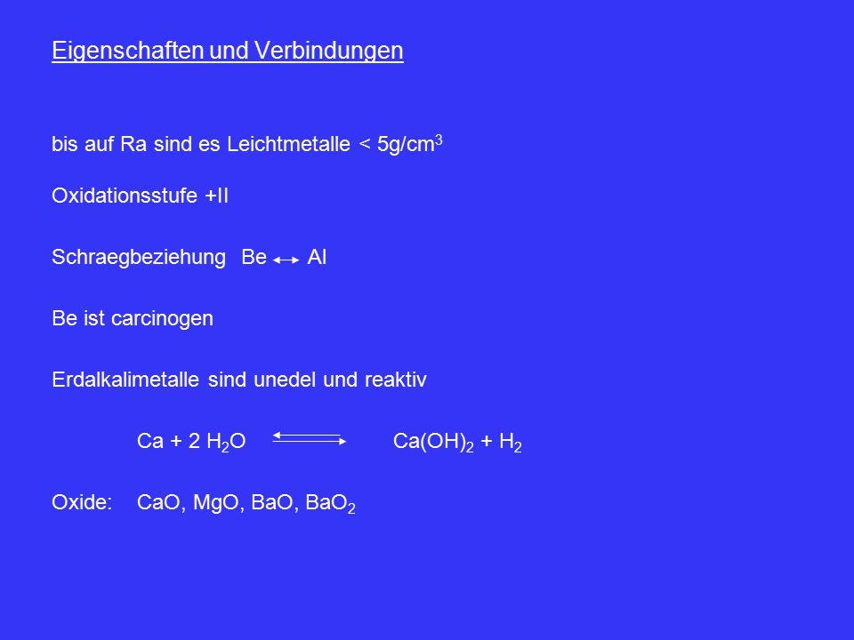 Eigenschaften und Verbindungen bis auf Ra sind es Leichtmetalle < 5g/cm 3 Oxidationsstufe +II Schraegbeziehung BeAl Be ist carcinogen Erdalkalimetalle sind unedel und reaktiv Ca + 2 H 2 O Ca(OH) 2 + H 2 Oxide:CaO, MgO, BaO, BaO 2