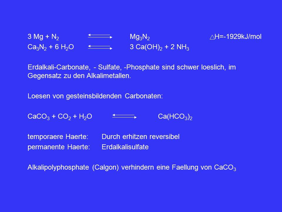 3 Mg + N 2 Mg 3 N 2 H=-1929kJ/mol Ca 3 N 2 + 6 H 2 O3 Ca(OH) 2 + 2 NH 3 Erdalkali-Carbonate, - Sulfate, -Phosphate sind schwer loeslich, im Gegensatz zu den Alkalimetallen.