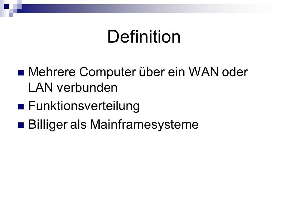 Definition Mehrere Computer über ein WAN oder LAN verbunden Funktionsverteilung Billiger als Mainframesysteme
