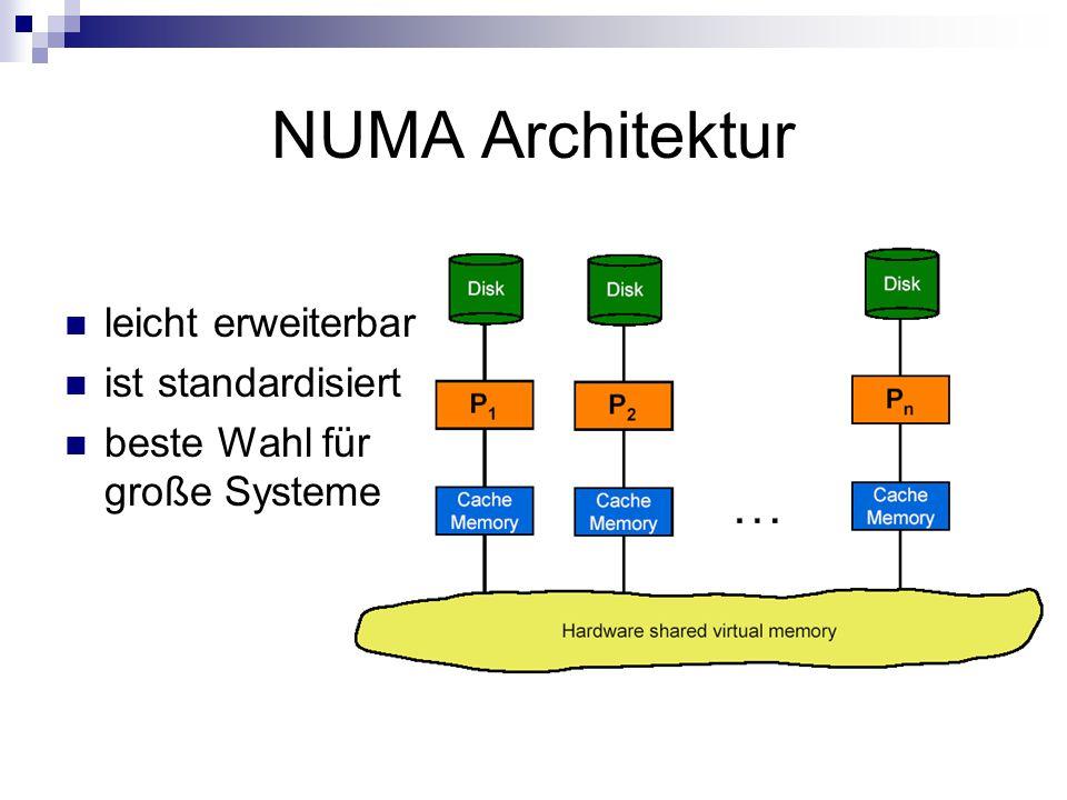NUMA Architektur leicht erweiterbar ist standardisiert beste Wahl für große Systeme