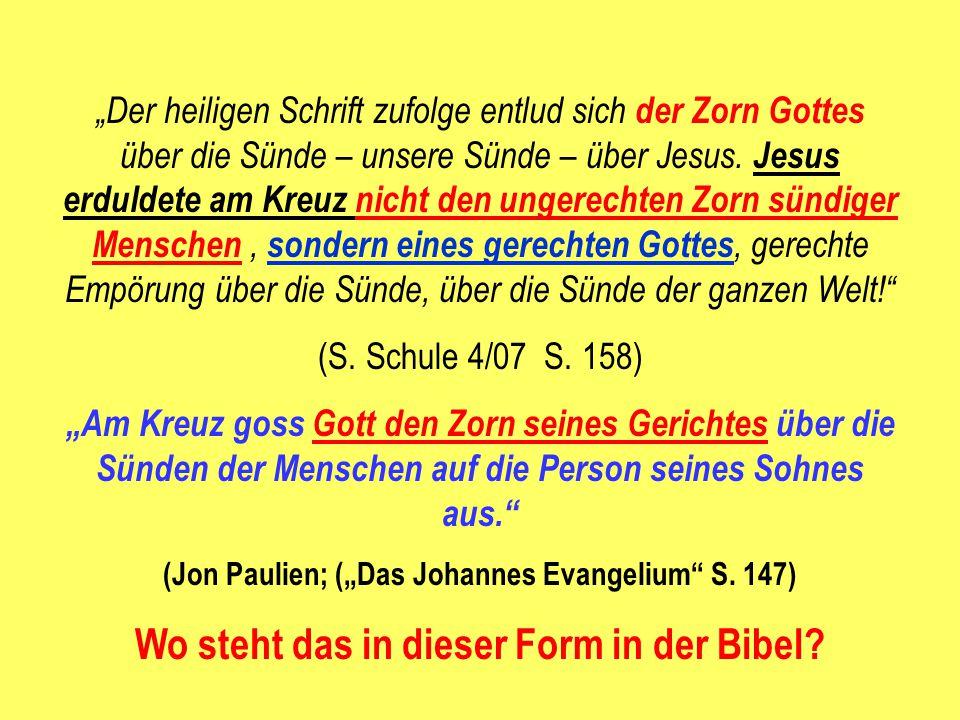 """""""Der heiligen Schrift zufolge entlud sich der Zorn Gottes über die Sünde – unsere Sünde – über Jesus. Jesus erduldete am Kreuz nicht den ungerechten Z"""