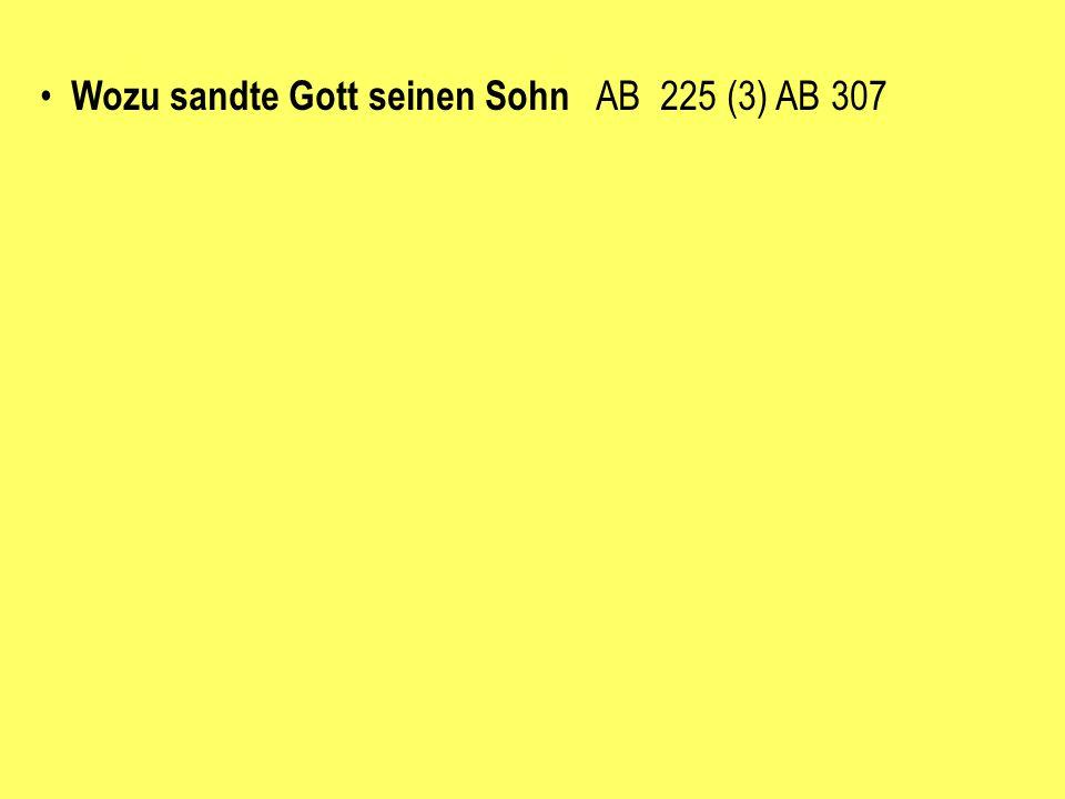 Wozu sandte Gott seinen Sohn AB 225 (3) AB 307