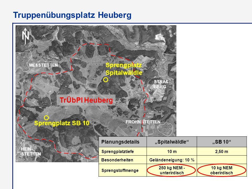 "N MEßSTETTEN HEIN- STETTEN Lager Heuberg FROHNSTETTEN STRAß- BERG Sprengplatz Spitalwäldle Sprengplatz SB 10 TrÜbPl Heuberg Planungsdetails""Spitalwäld"