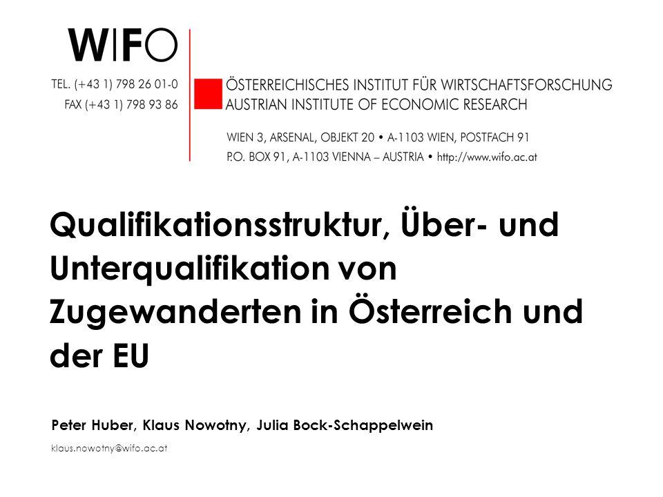 Peter Huber, Klaus Nowotny, Julia Bock-Schappelwein klaus.nowotny@wifo.ac.at Qualifikationsstruktur, Über- und Unterqualifikation von Zugewanderten in