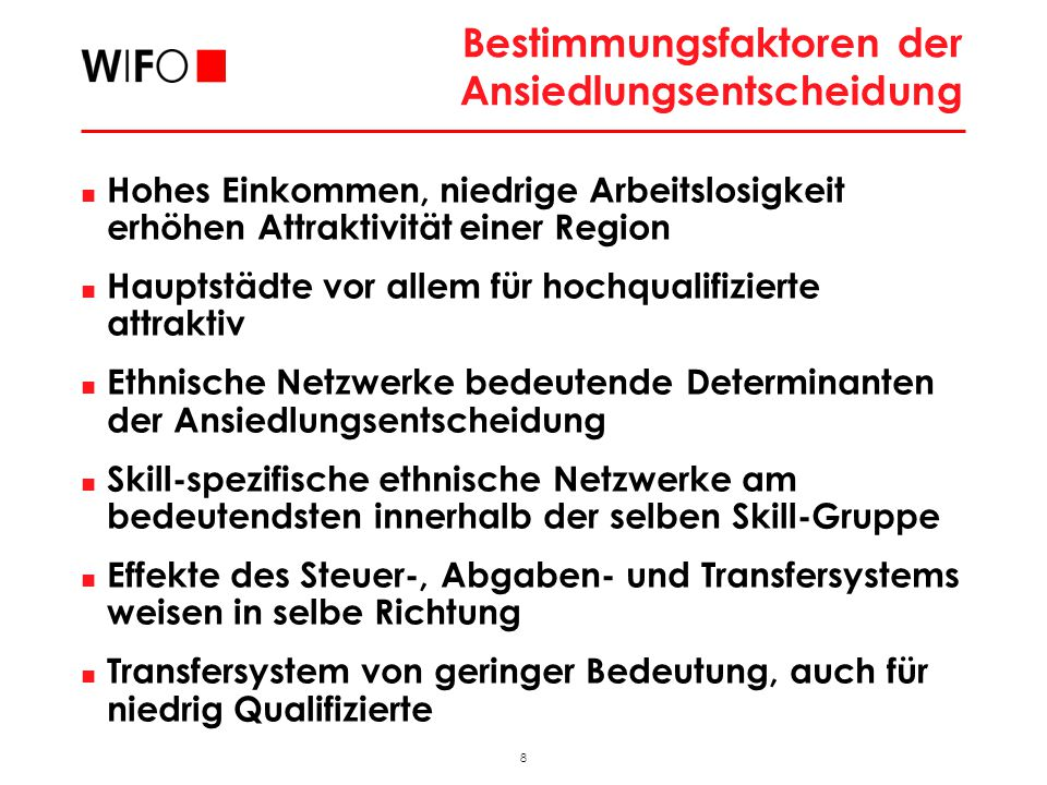 8 2009_11_FAMO_hub Bestimmungsfaktoren der Ansiedlungsentscheidung Hohes Einkommen, niedrige Arbeitslosigkeit erhöhen Attraktivität einer Region Haupt