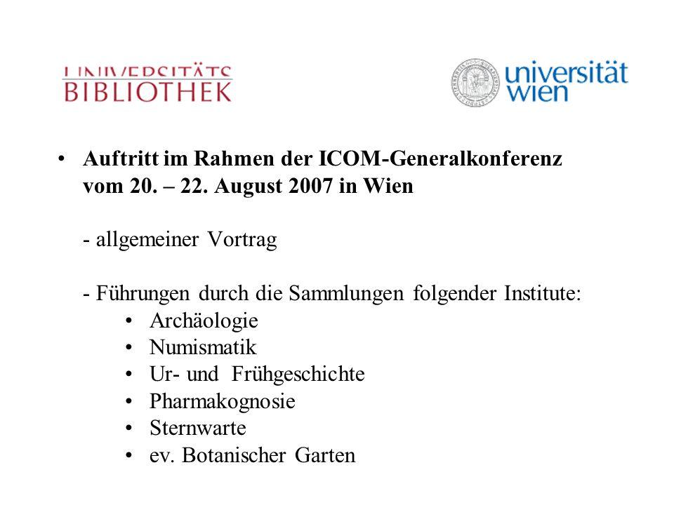 Auftritt im Rahmen der ICOM-Generalkonferenz vom 20.