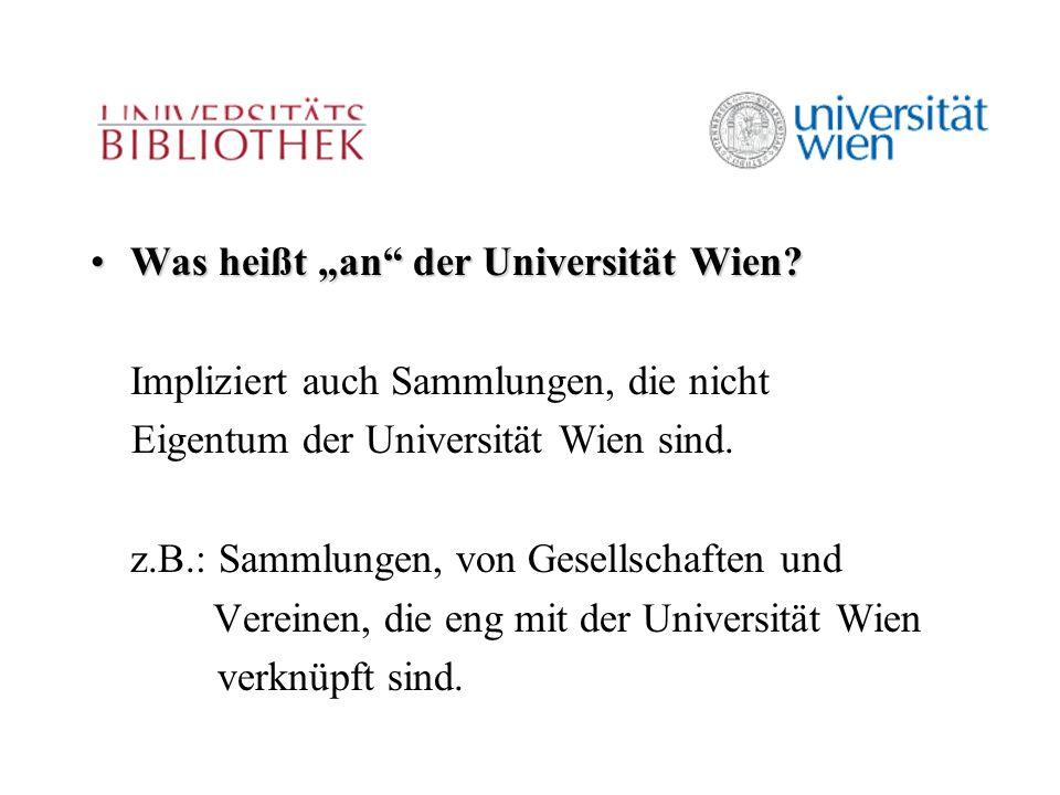 """Was heißt """"an der Universität Wien Was heißt """"an der Universität Wien."""
