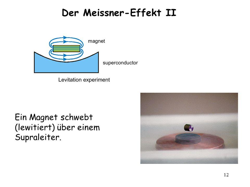 12 Der Meissner-Effekt II Ein Magnet schwebt (lewitiert) über einem Supraleiter.