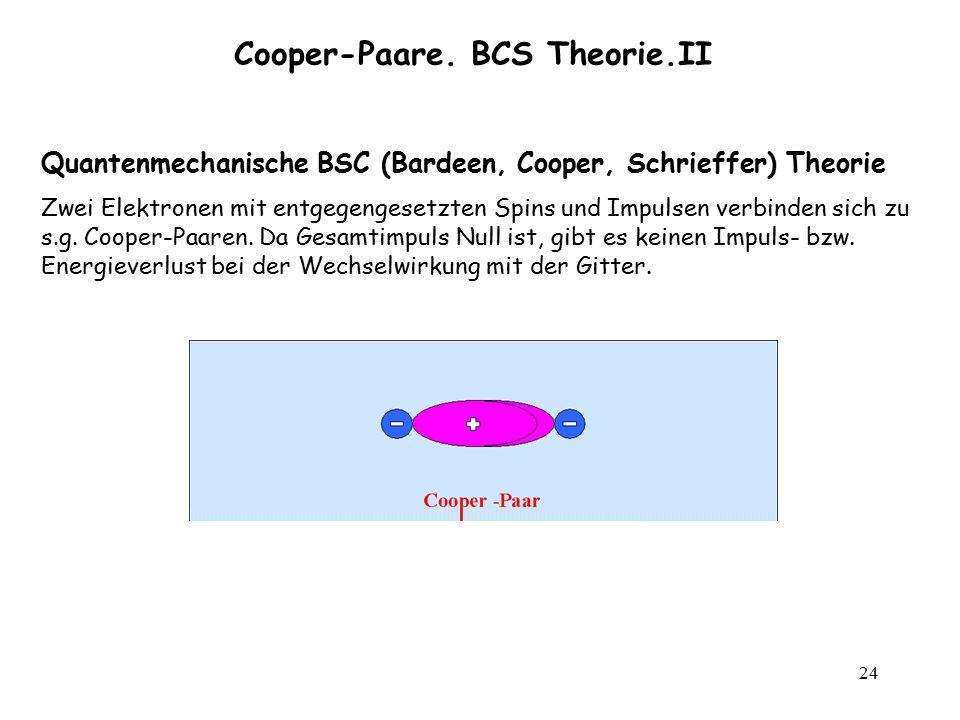 24 Cooper-Paare. BCS Theorie.II Quantenmechanische BSC (Bardeen, Cooper, Schrieffer) Theorie Zwei Elektronen mit entgegengesetzten Spins und Impulsen