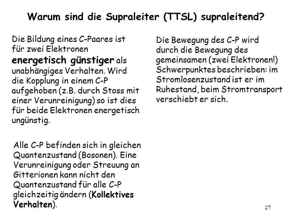 27 Warum sind die Supraleiter (TTSL) supraleitend? Die Bewegung des C-P wird durch die Bewegung des gemeinsamen (zwei Elektronen!) Schwerpunktes besch