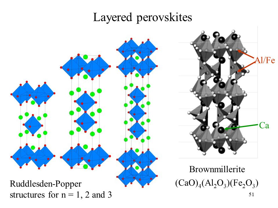51 Ruddlesden-Popper structures for n = 1, 2 and 3 Brownmillerite Layered perovskites (CaO) 4 (Al 2 O 3 )(Fe 2 O 3 ) Al/Fe Ca