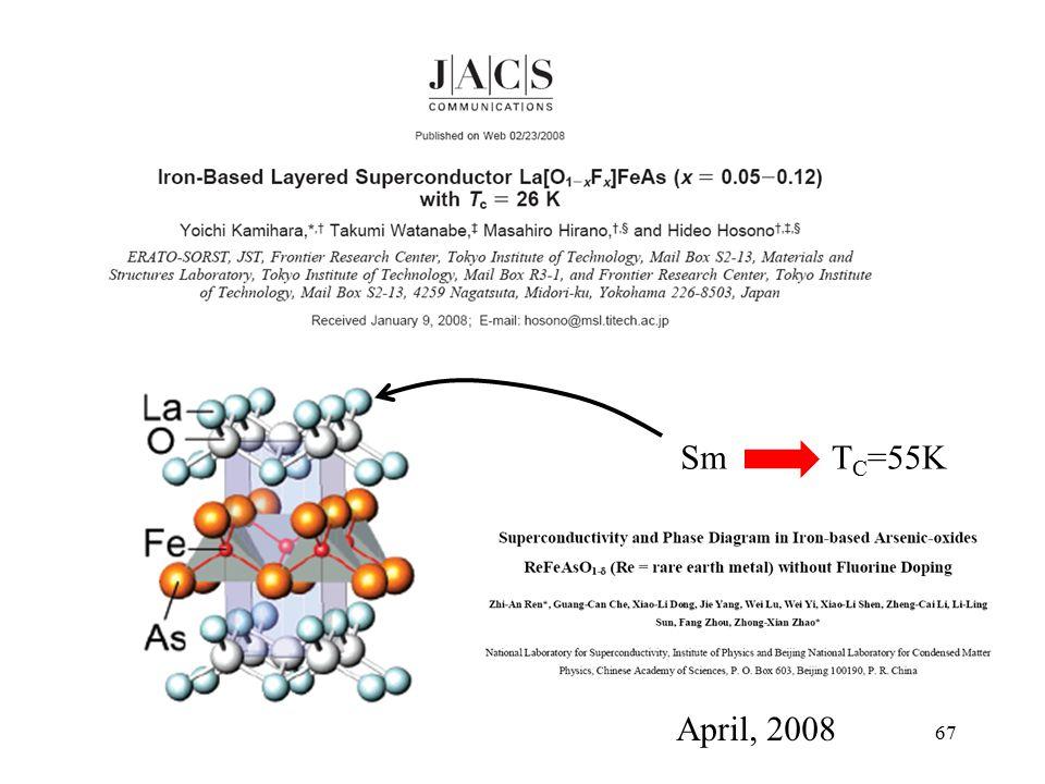 67 SmT C =55K April, 2008