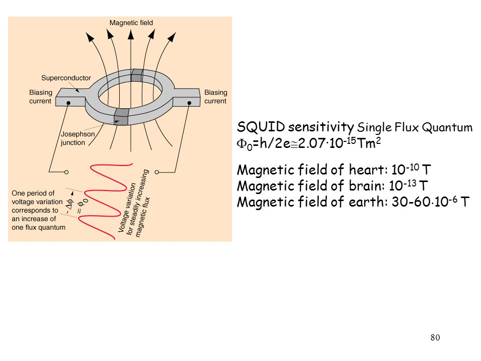 80 SQUID sensitivity Single Flux Quantum  0 =h/2e  2.07·10 -15 Tm 2 Magnetic field of heart: 10 -10 T Magnetic field of brain: 10 -13 T Magnetic field of earth: 30-60  10 -6 T