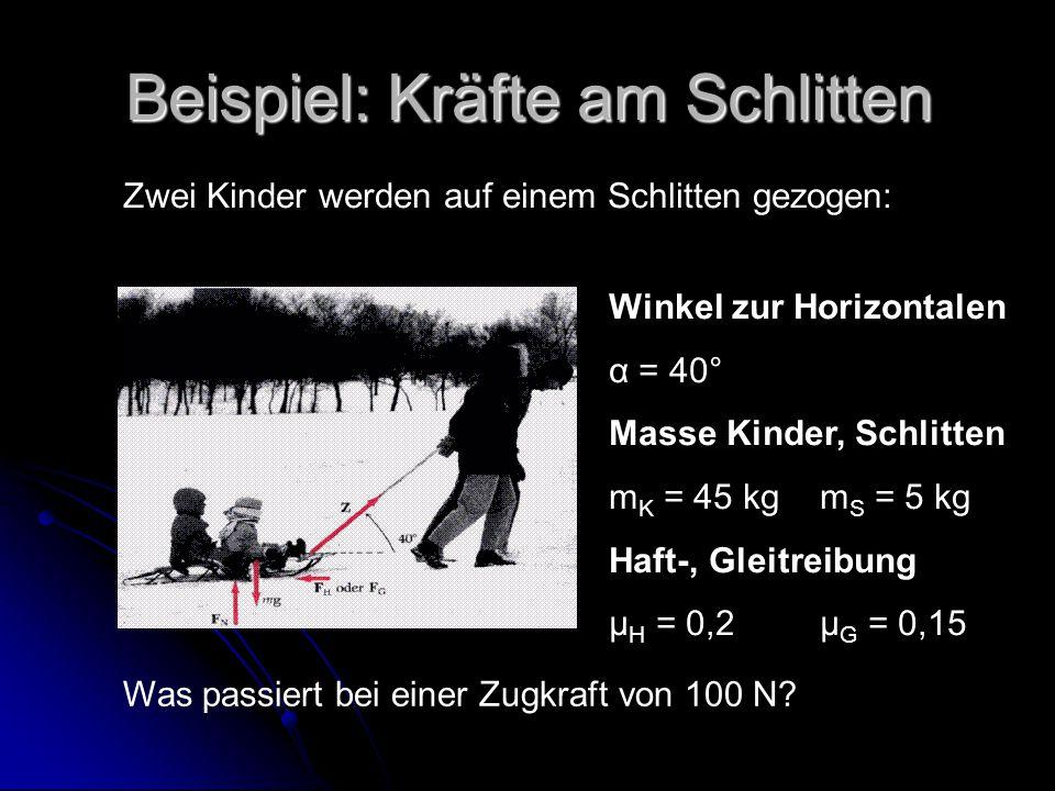 Beispiel: Kräfte am Schlitten Zwei Kinder werden auf einem Schlitten gezogen: Winkel zur Horizontalen α = 40° Masse Kinder, Schlitten m K = 45 kgm S = 5 kg Haft-, Gleitreibung μ H = 0,2μ G = 0,15 Was passiert bei einer Zugkraft von 100 N?