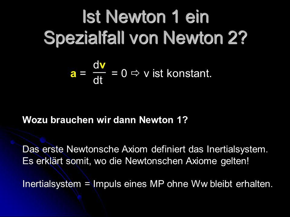 Ist Newton 1 ein Spezialfall von Newton 2? Wozu brauchen wir dann Newton 1? a = = 0  v ist konstant. dvdv __ dt Das erste Newtonsche Axiom definiert