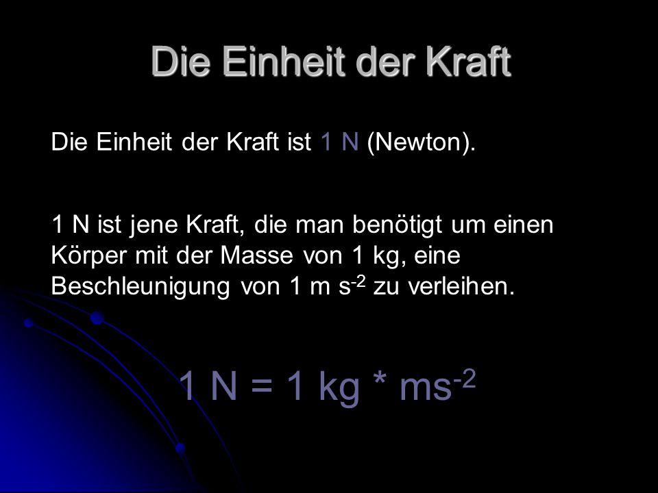 Die Einheit der Kraft Die Einheit der Kraft ist 1 N (Newton). 1 N ist jene Kraft, die man benötigt um einen Körper mit der Masse von 1 kg, eine Beschl